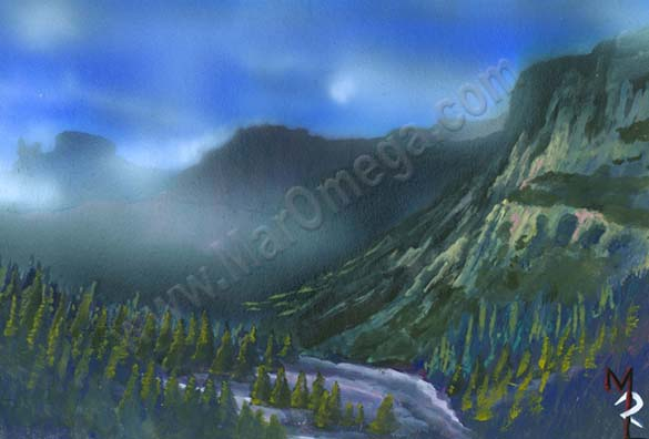 Misty Mountains airbrush & gouache
